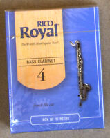 New, sealed box of 10 Rico Royal #4 Reeds for Bass Clarinet in French File Cut