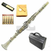 SKY White ABS Student Bb Clarinet with Case Mouthpiece 11 Reeds Care kit and ...