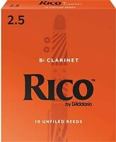 RICO Bb CLARINET, #2.5 (10 REEDS) EASY TO PLAY, AFFORDABLE,