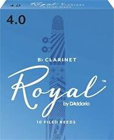 RICO ROYAL CLARINET REED, #4 (10 REEDS) FRENCH FILED FOR FLE