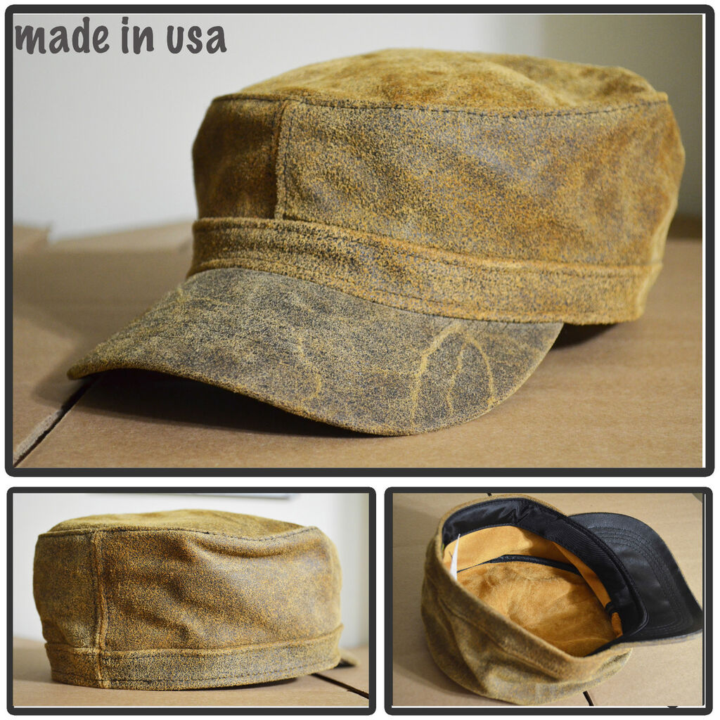 100% DISTRESS LEATHER ARMY CADET MILITARY BASEBALL CAP HAT MADE IN USA