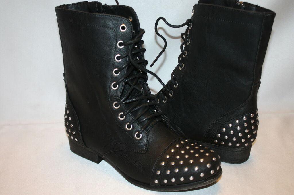 NEW MADDEN GIRL by STEVE MADDEN Black Stud GEWELZ Motorcycle Lace Up