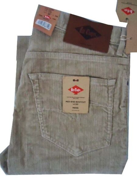 2aa9c376 Mens Lee Cooper Lc20 Bootcut Cords Stretch Jeans 70s Beige All Sizes ...