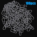 100pcs Stainless Steel Fishing Snaps Fast Lock Clips for Lures Barrel Swivels +