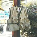 Vintage Columbia Fishing Outdoor Sporsman Vest Khaki and Green Trim Made in USA