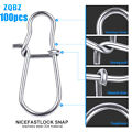 100Pcs Stainless-Steel Fishing Snaps Fastlock Clips for Lures & Barrel Swivel