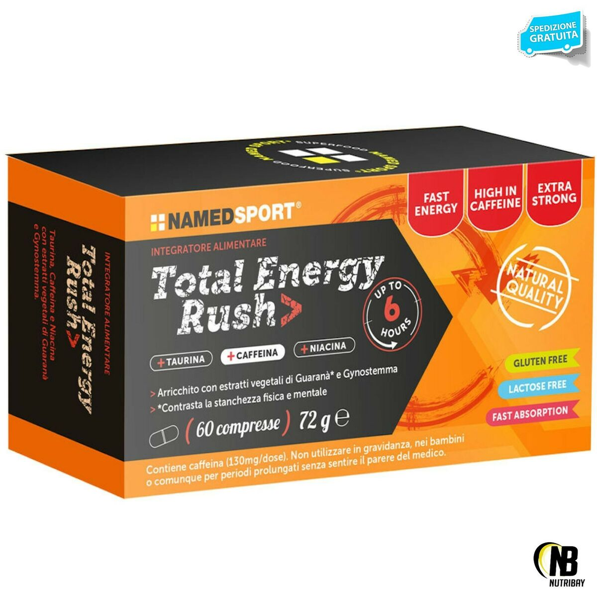 Named sport total energy rush 60 cpr energetico con taurina niacina e guarana 