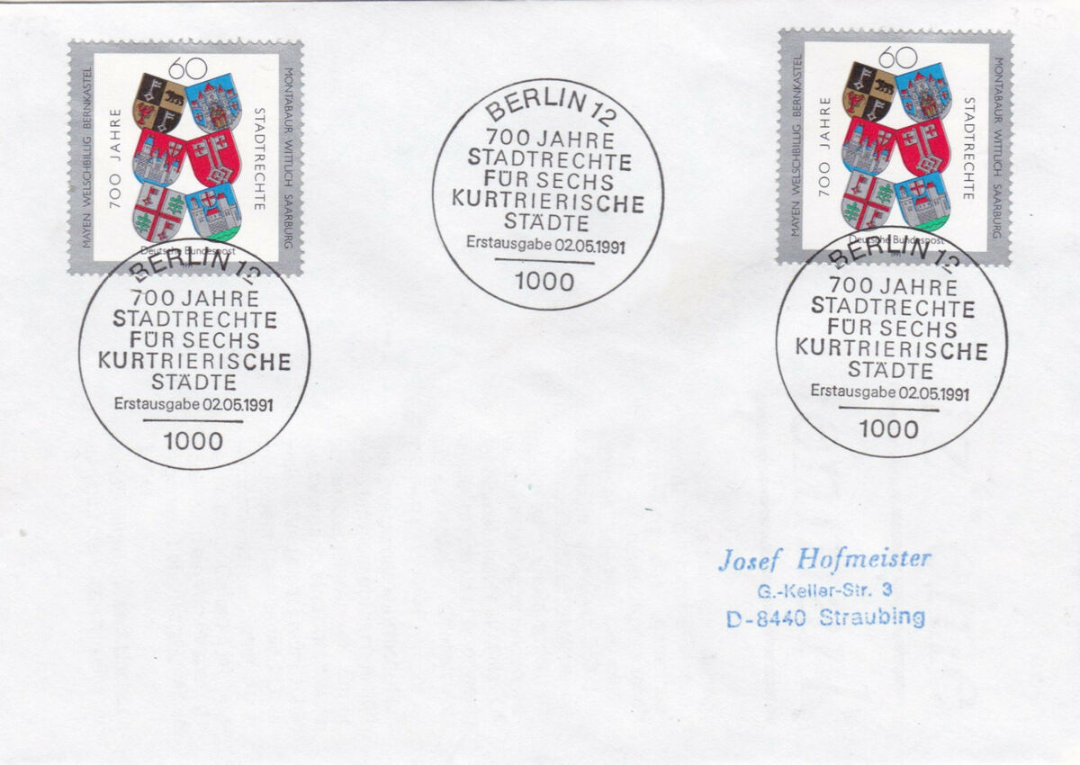 Germany 1991 700th anniv of granting charters to six towns of triers fdc vgc 