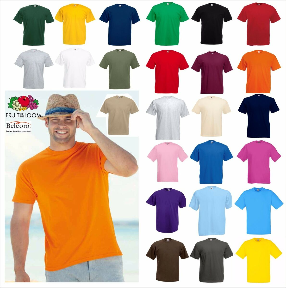 Set 5 pezzi maglietta maniche corte uomo fruit of the loom valueweight t shirt 