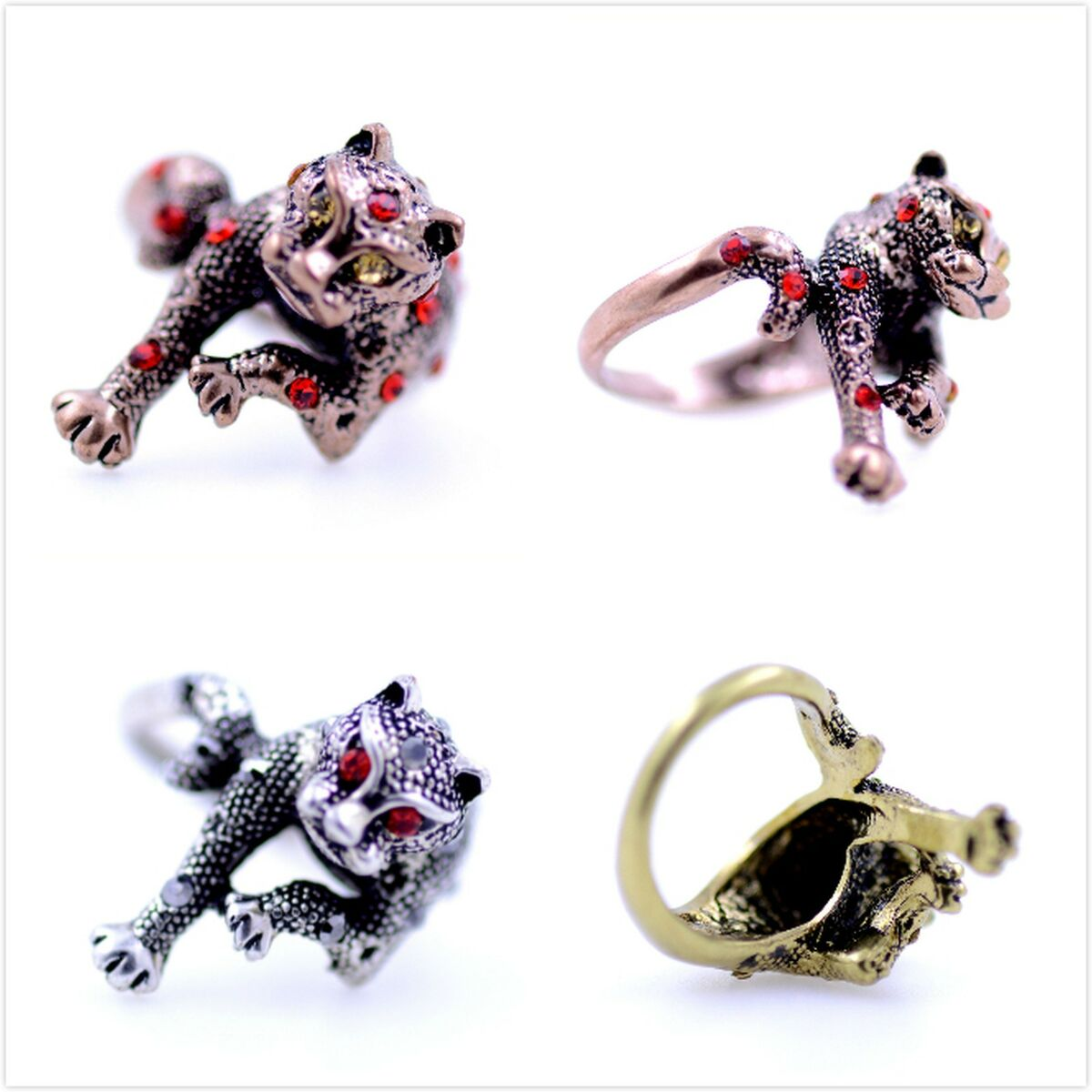 Uk size p and t prowling leopard cat ring head curls into tail nice design Prezzo: € 2,77