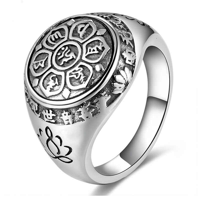 Mens womens 925 sterling silver ring signet lotus six words mantra sutra buddha 