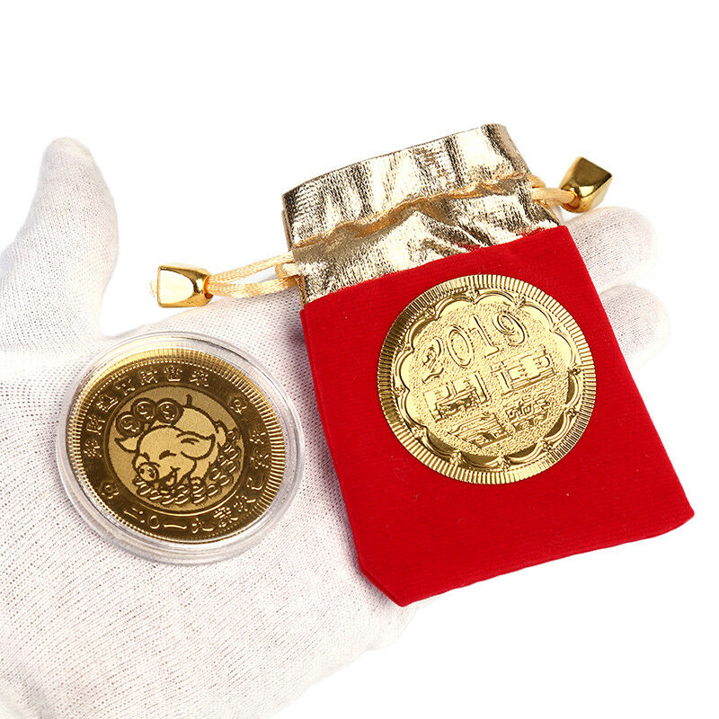 Gold pig commemorative coin year of pig coins new year gift with drawstring bagc Prezzo: € 1,00