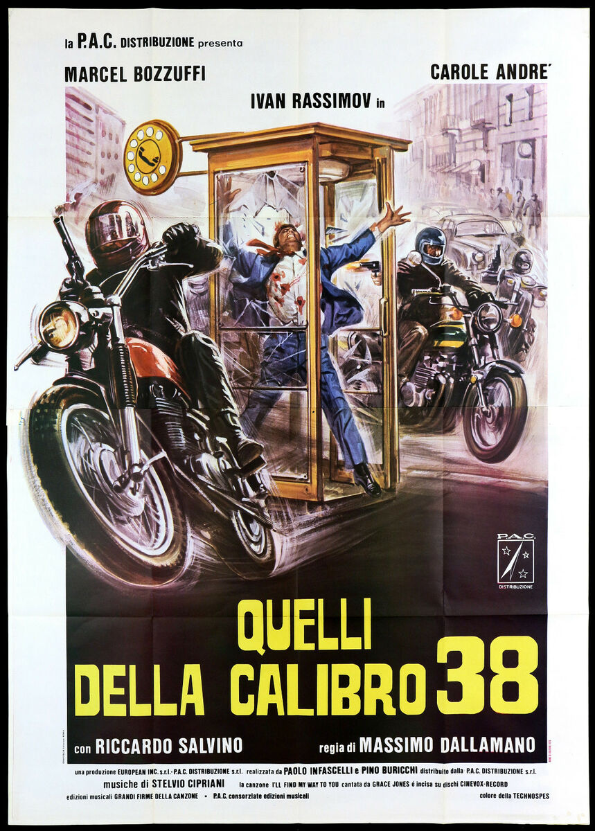 Quelli della calibro 38 manifesto cinema moto poliziesco 1976 movie poster 4f 