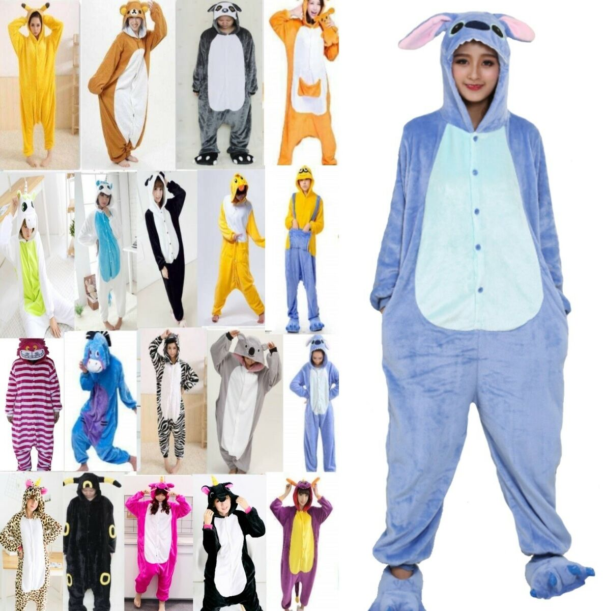Pigiama animale intero kigurumi costume carnevale halloween cosplay materiale 