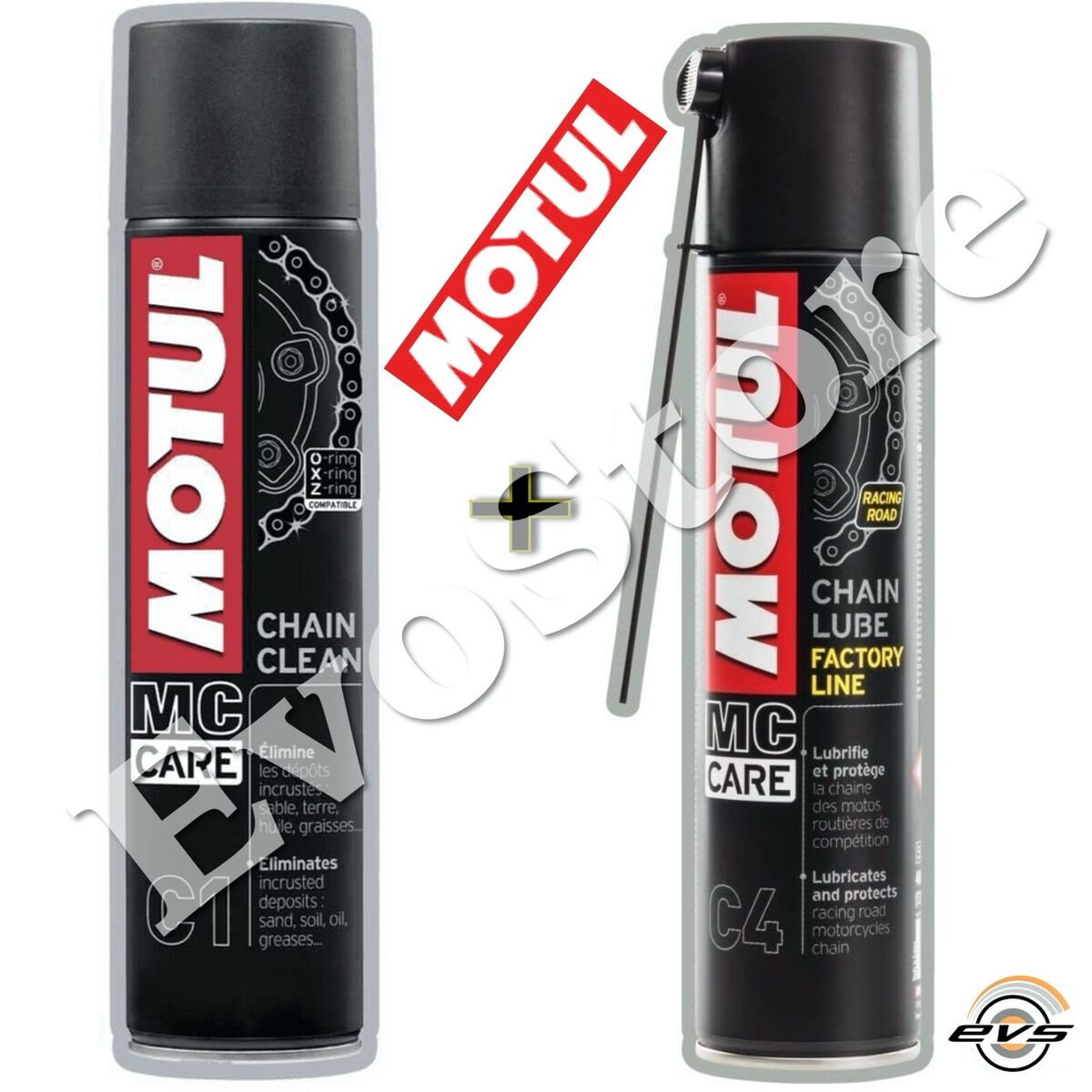 Kit pulizia catena moto strada motul c1 chain clean grasso spray c4 fl 2x400ml 
