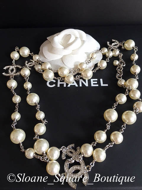 Chanel classic 5 silver crystal cc s white pearl 42 long necklace catwalk a1 