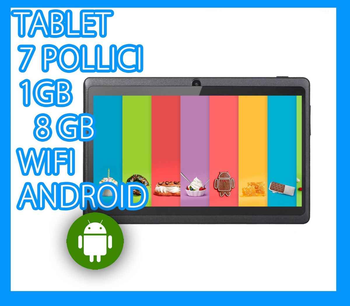 Tablet pc 7 wifi android 3g 1gb ram 8gb slim bt bambino dual camera touch sd 