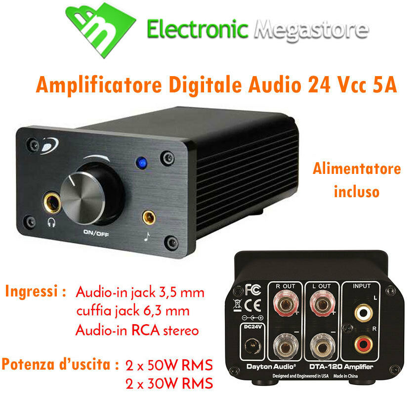 Amplificatore digitale in classe t dta 100a 04200200 100w dayton audio 
