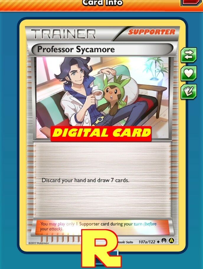 Professor sycamore promo a foil for pokemon tcg online ptcgo in game card 