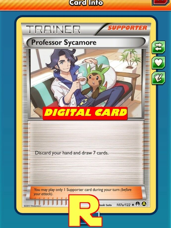 Professor sycamore promo a for pokemon tcg online ptcgo in game card 