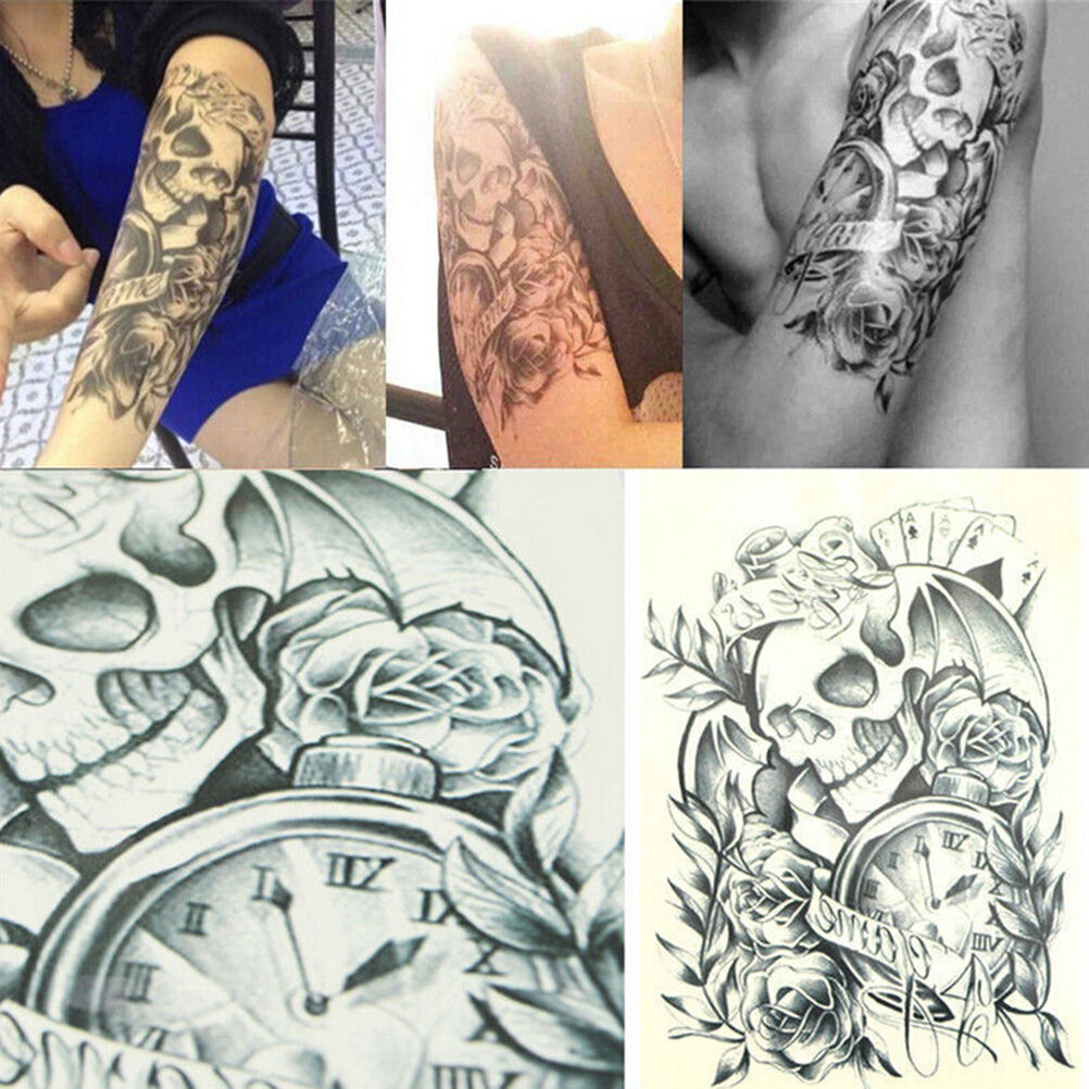 Temporary tattoo body arm skull stickers removable waterproof black large wqzy 