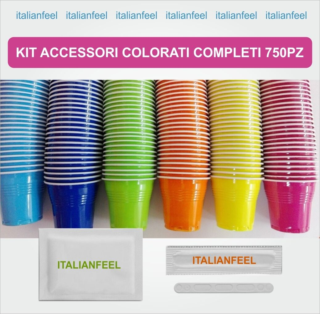 750 pz kit accessori caffe colorati completi originale borbone 5 x 150 