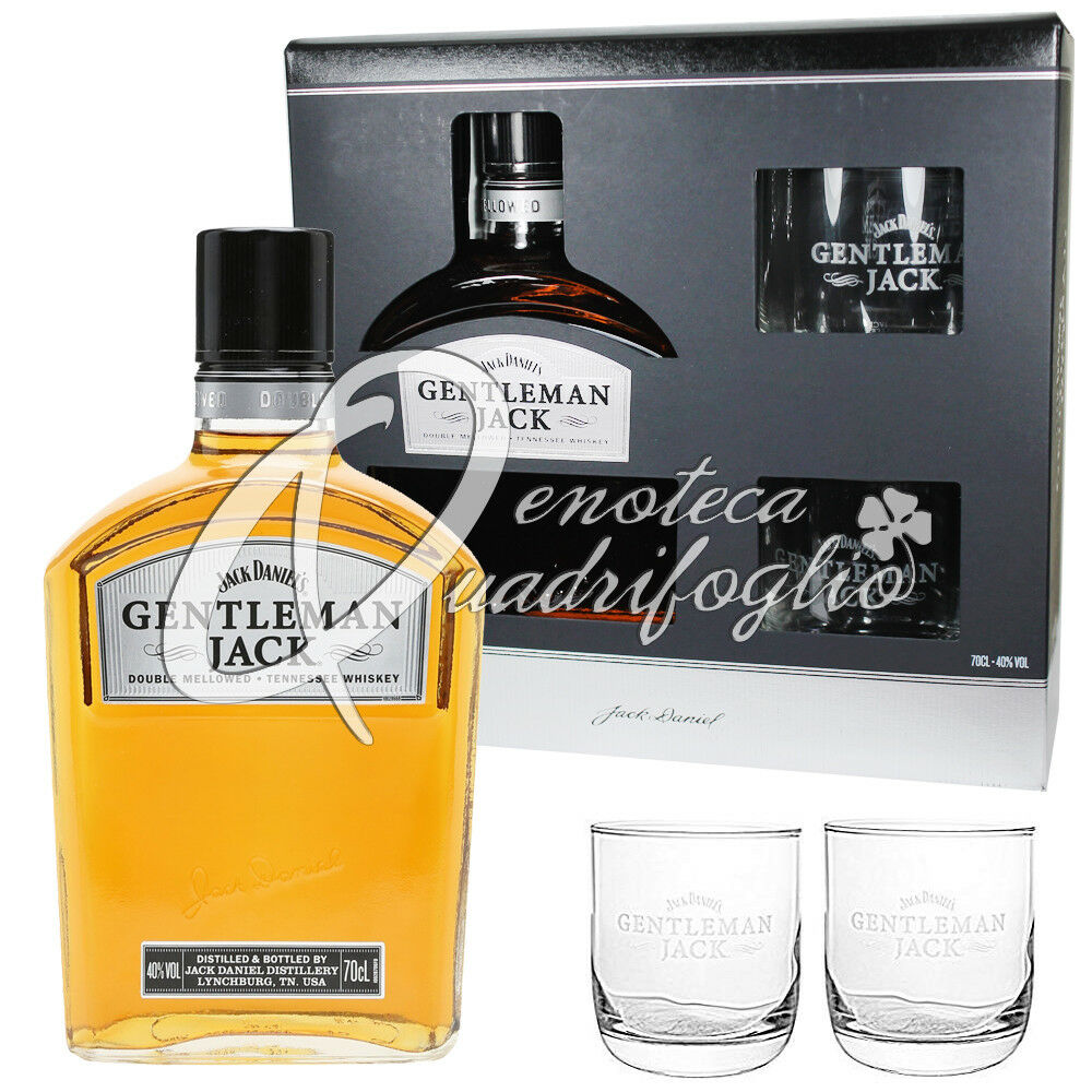 Jack daniel s whiskey gentleman jack daniels whisky 2 calice idea regalo 