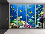 Striped Fish Swimming Over Colorful Coral Reefs Creative Wall Mural 66x96