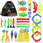 Chuchik Diving Toys 30 Pack Swimming Pool Toys for Kids Includes 4 Diving Stick