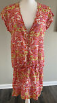 Women#x27;s Capelli New York Swim Cover Up Dress Coral Green Pink Cotton Large L