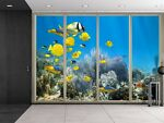 Wall26® Yellow Fish Swimming Over the Coral Reefs Creative Wall Mural 66x96