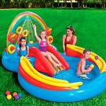 New Inflatable Kid Pool Slide Intex Sprayer Kiddie Swimming Water Fun Play Toy