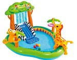 Intex 7 x 6 x 4 FT Jungle Inflatable Swimming Pool Play Center Slide Sprayer Kid