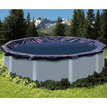 28#x27; Round Navy Blue Above Ground Swimming Pool Winter Cover 10 Yr Limited WTY