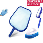 Above Ground Swimming Pool Cleaning Kit Wall Brush Leaf Skimmer Vacuum Head Set