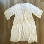 TIME and TRU Womens White Eyelet Kimono Swim Suit Cover Up L XL