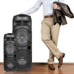 Portable Party Bluetooth PA Loudspeaker Dual Subwoofer With Microphone Remote