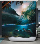 Turtle Swimming Underwater Wave Fabric SHOWER CURTAIN amp; Hooks Tropical Sea Palm