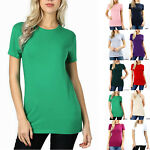 SHORT SLEEVE CREW NECK Basic Women T Shirt Cotton Long Top Fitted Plain Stretch