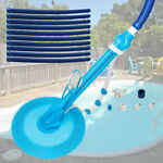 Automatic Swimming Pool Vacuum Cleaner Hover Climb Wall w Hose In Ground Blue