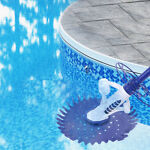 Automatic Swimming Pool Vacuum Cleaner Cleaning Machine w Hose Blue Climbs Wall