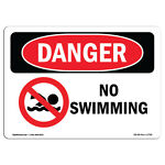 OSHA Danger Sign No Swimming Heavy Duty Sign or Label