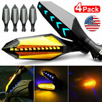 4x Motorcycle 12 LED Turn Signal Lamp Sequential Flowing Indicator Lights Amber