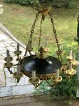 FRENCH EMPIRE CHANDELIER BRASS And Black CEILING 12 LIGHTS
