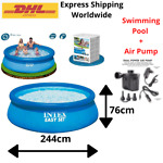Intex Easy Set 8ft x 30in Pool Above Ground Inflatable Swimming Round Family#x27;s