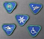 BOY SCOUTS CANADA 5 WOLF CUB BLUE MERIT PATCHES SWIMMING WINTER AIRCRAFT WR