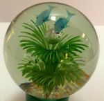 Paperweight of Two Blue Dolphins Swimming Over Bubble Sea Grass Ocean Nautical