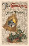 1910 Winsch Christmas Postcard of Winter Scene on Bell Above Basket of Holly