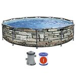 Bestway 56817E 12#x27; x 30quot; Steel Pro Max Round Above Ground Swimming Pool w Pump