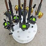 Circular Fishing Rod Rack For 16 Rods & Reels storage Pole holder Plus Revolving